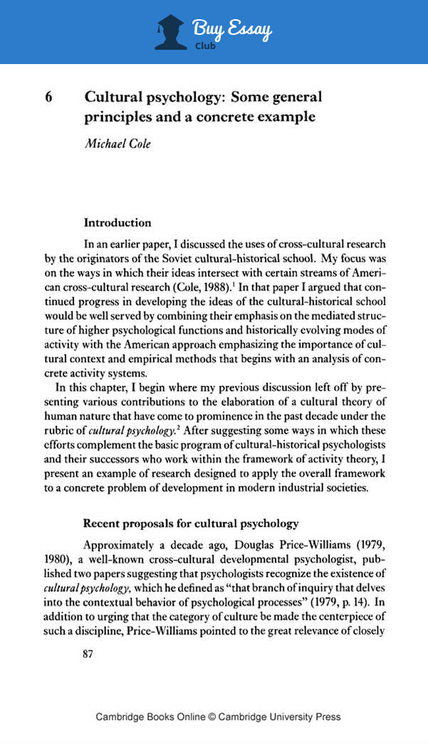 sample psychology research paper