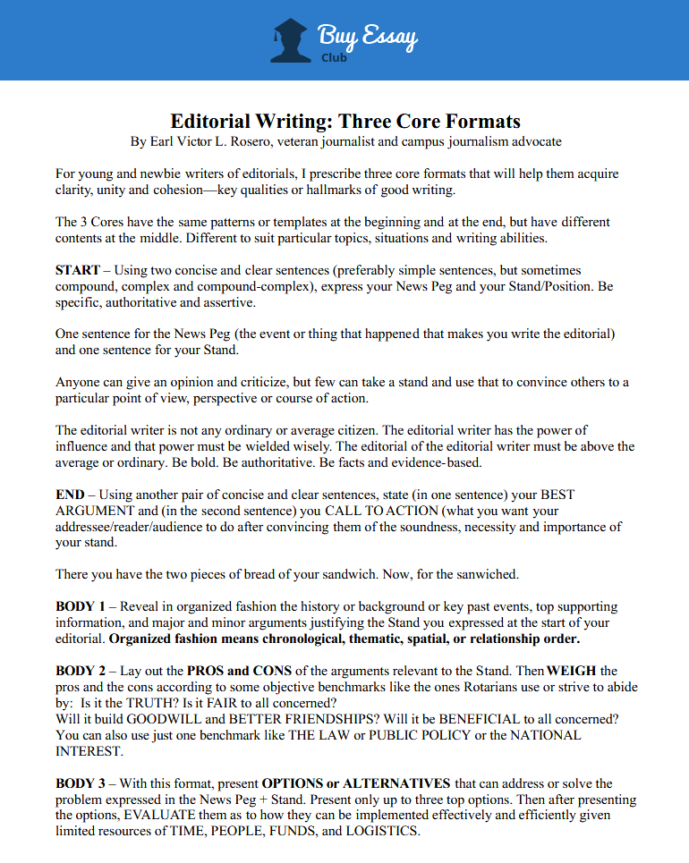 editorial writing - three core formats