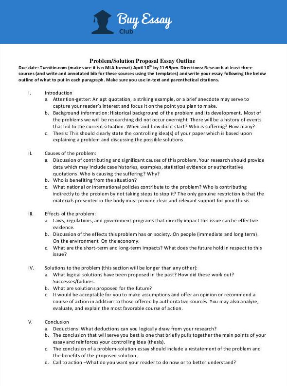 solution proposal essay outline