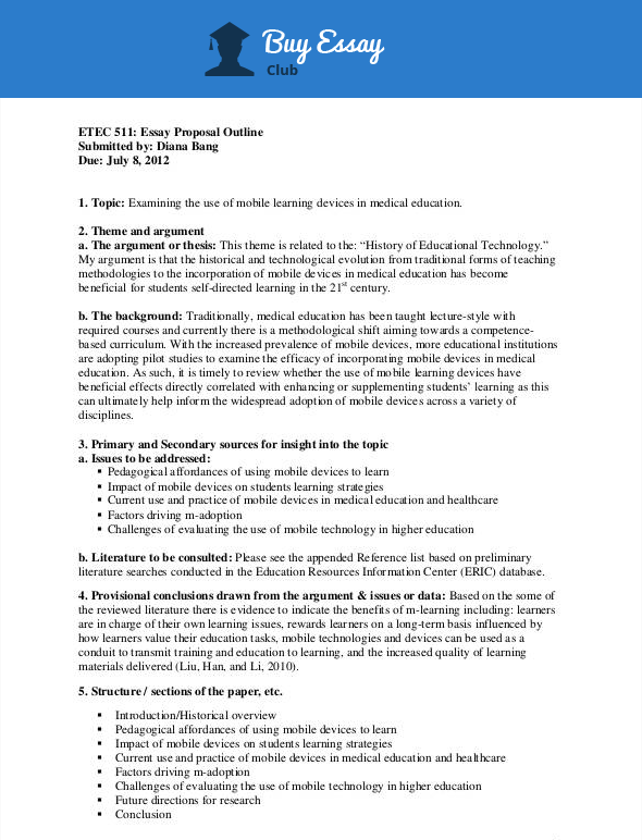 standard essay proposal outline